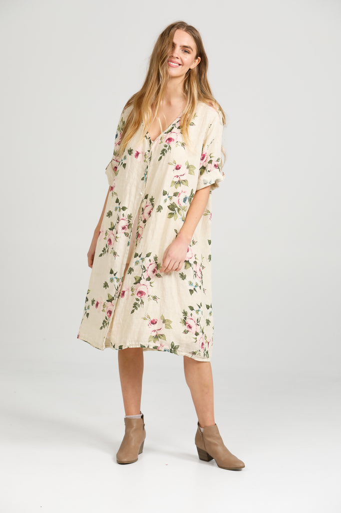 Abigail Floral linen coatdress.  Antique Cream