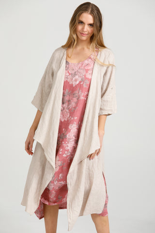 Linen Sabine Duster Coat. Natural stone.