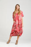 Primavera linen floral dress. Watermelon  Floral