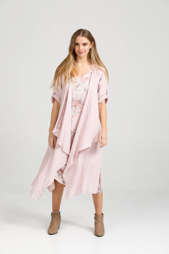 Linen Sabine Duster Coat. Blush