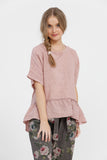 Priscilla linen top. Antique Rose Pink