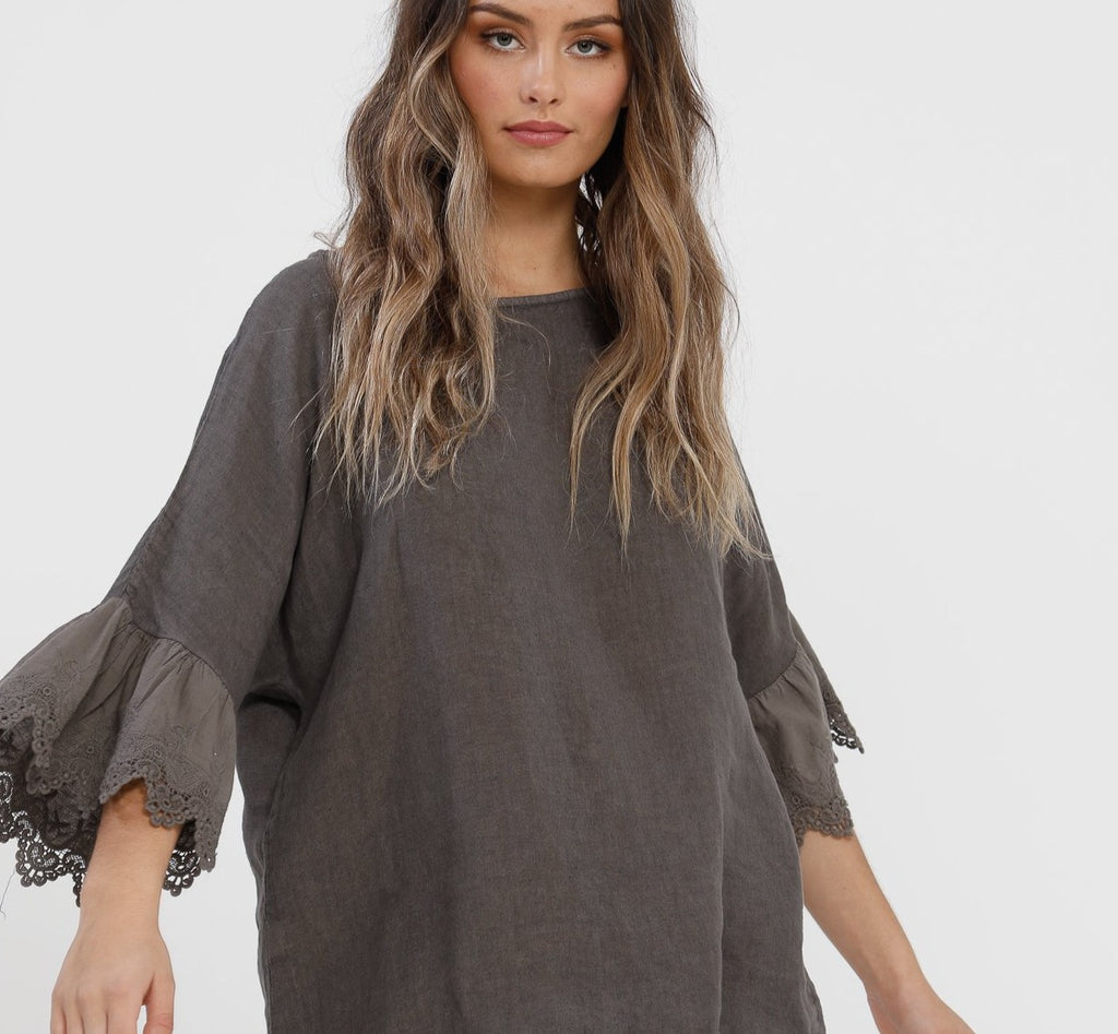Ellie Lace ruffled Linen top. Charcoal