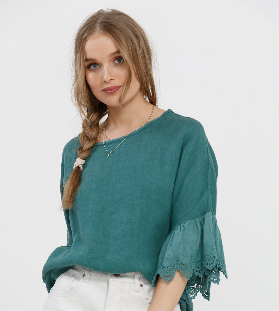 Ellie Ruffle Linen top. Peacock Green