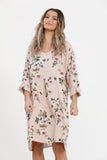 Amelia linen floral dress. Antique Rose
