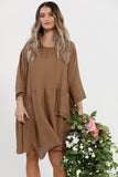 Clarissa linen dress . Tobacco