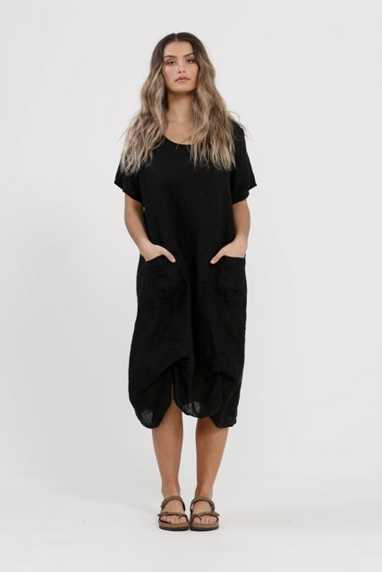 Primavera linen dress  Black
