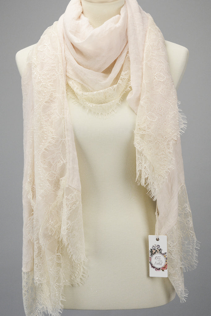 cotton and lace scarf. champagne