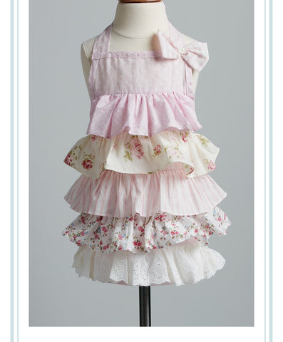 Pretty in Pink Apron. girl`s ruffle apron.