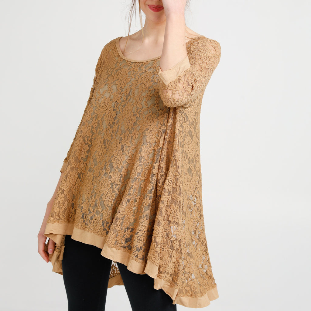 Lily Lace Top .Nutmeg