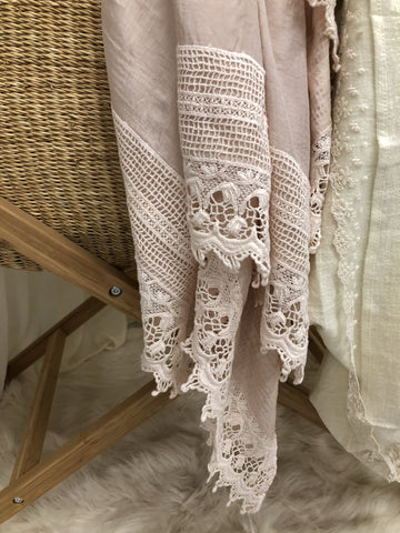 Heirloom Baby swaddle . Blush.and ivory