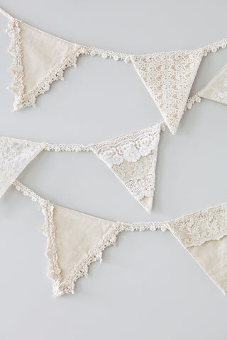 Linen and Lace Bunting. wedding bunting. wedding pendants. christening bunting. birthday bunting.