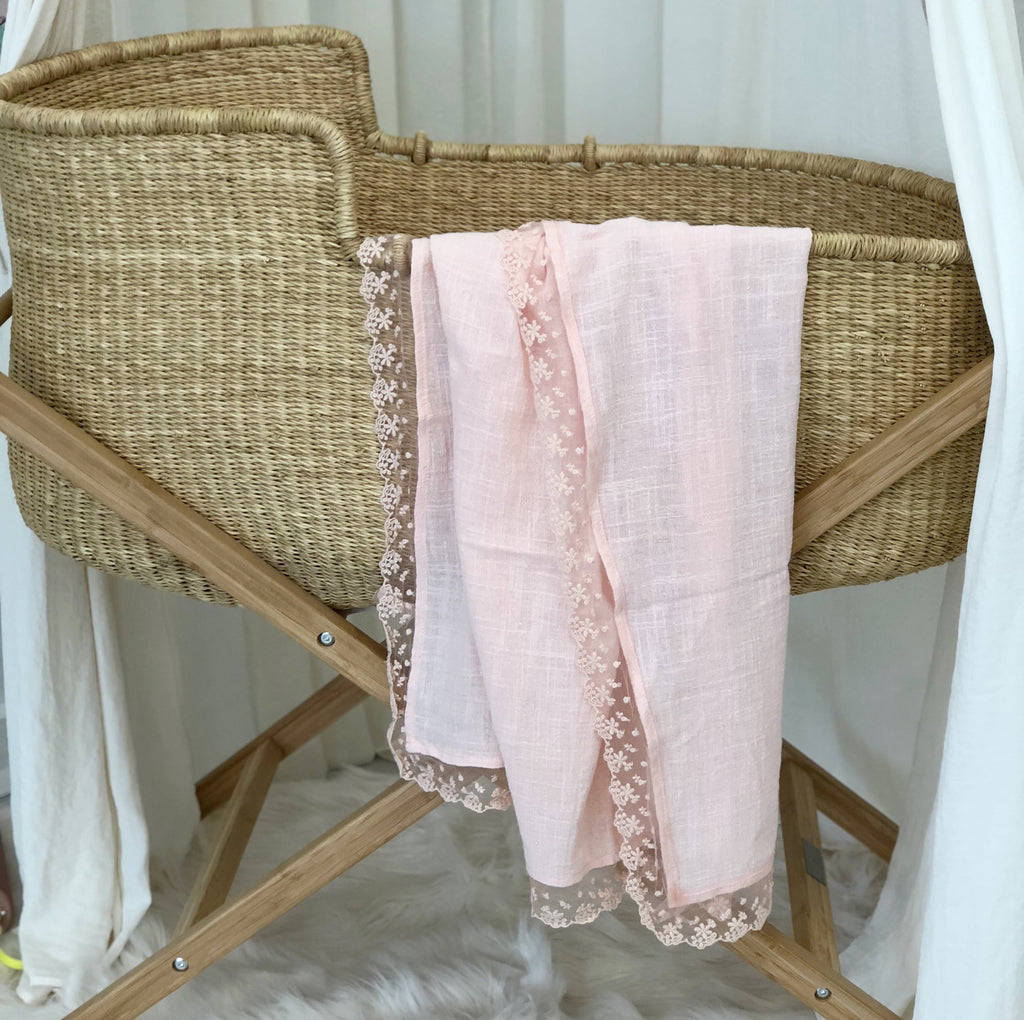 Baby cotton and lace swaddle ..Lullabye in pink and cream