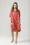 Linen Rosabella Dress..  Raspberry Red