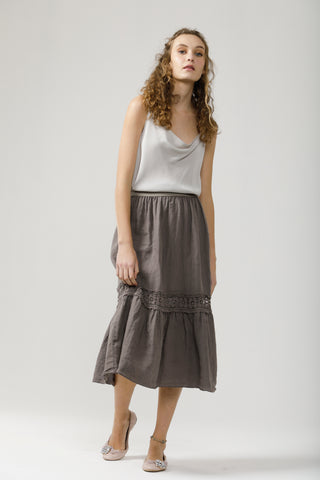 Linen and lace Capri skirt. Charcoal