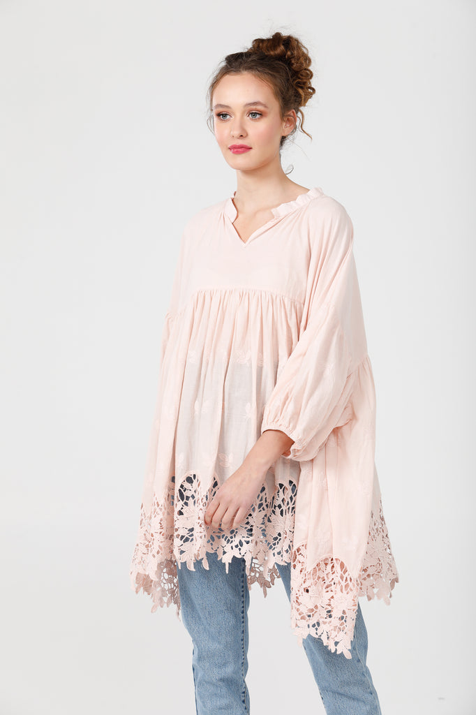 French cotton smock. pink scalloped lace.