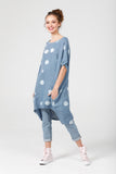 Linen Rosabella  dress . Bluejean Blue Polka dot.