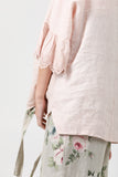 Ellie lace ruffled sleeve top. Pale pink