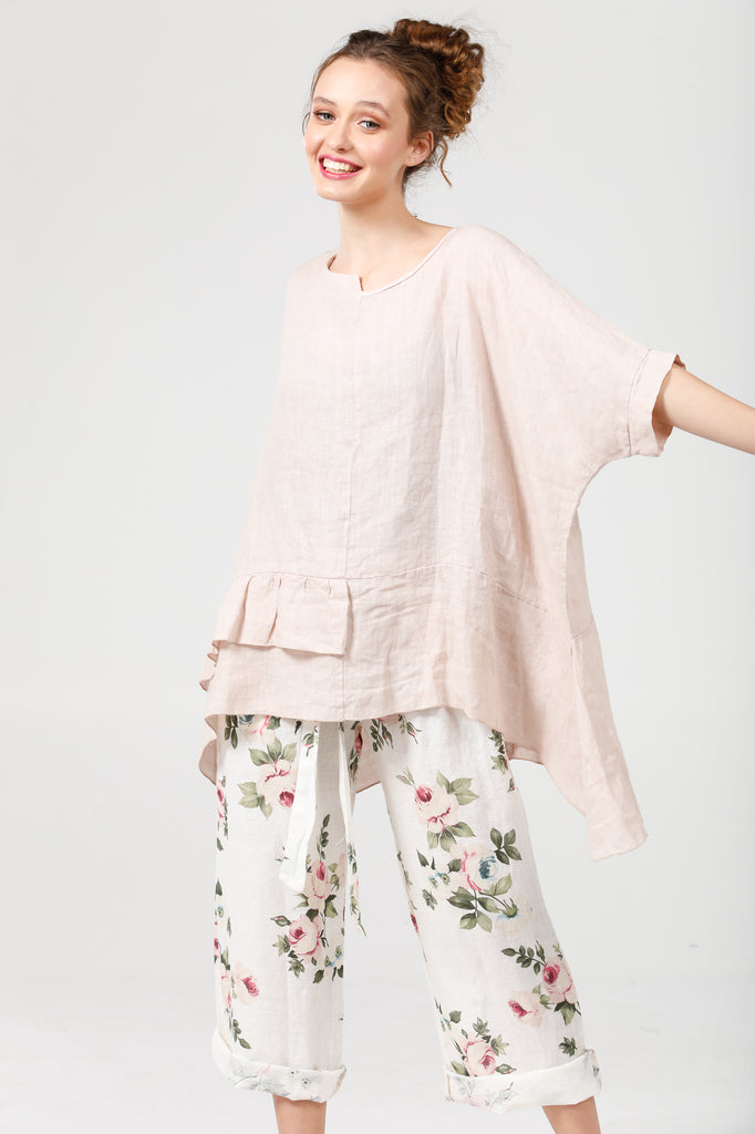 Linen Sorrento top.. Pale Pink