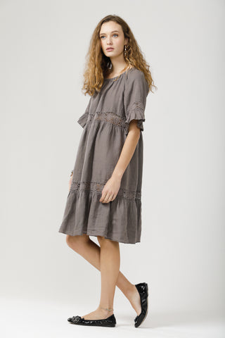 Capri Linen and Lace dress .Charcoal.