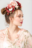 Kew Gardens Flower Crown. Burgundy / Pink