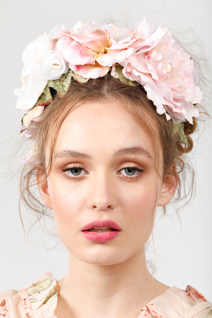 Chelsea Garden  flower crown. Pink /cream