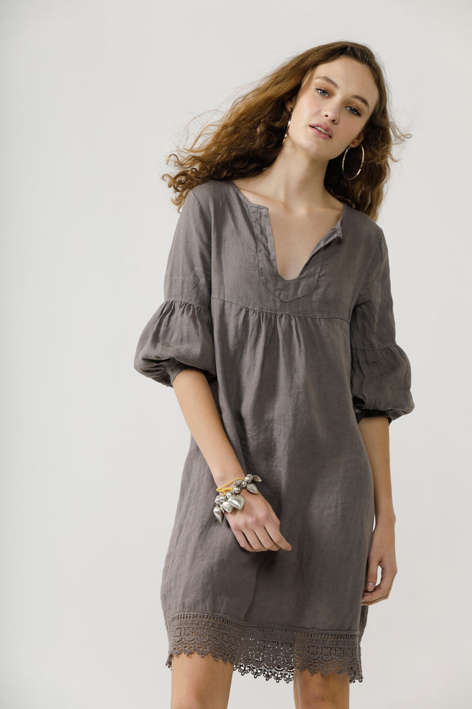 Larissa linen and lace dress. Charcoal.