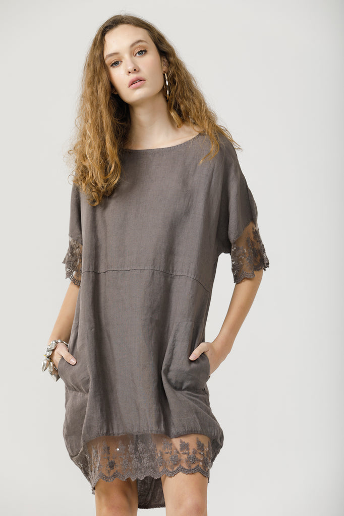 Sienna linen and lace dress. Charcoal