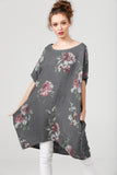 Linen Rosabella dress. charcoal floral.