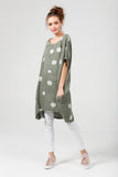 Linen Rosabella  dress. olive green polka dot