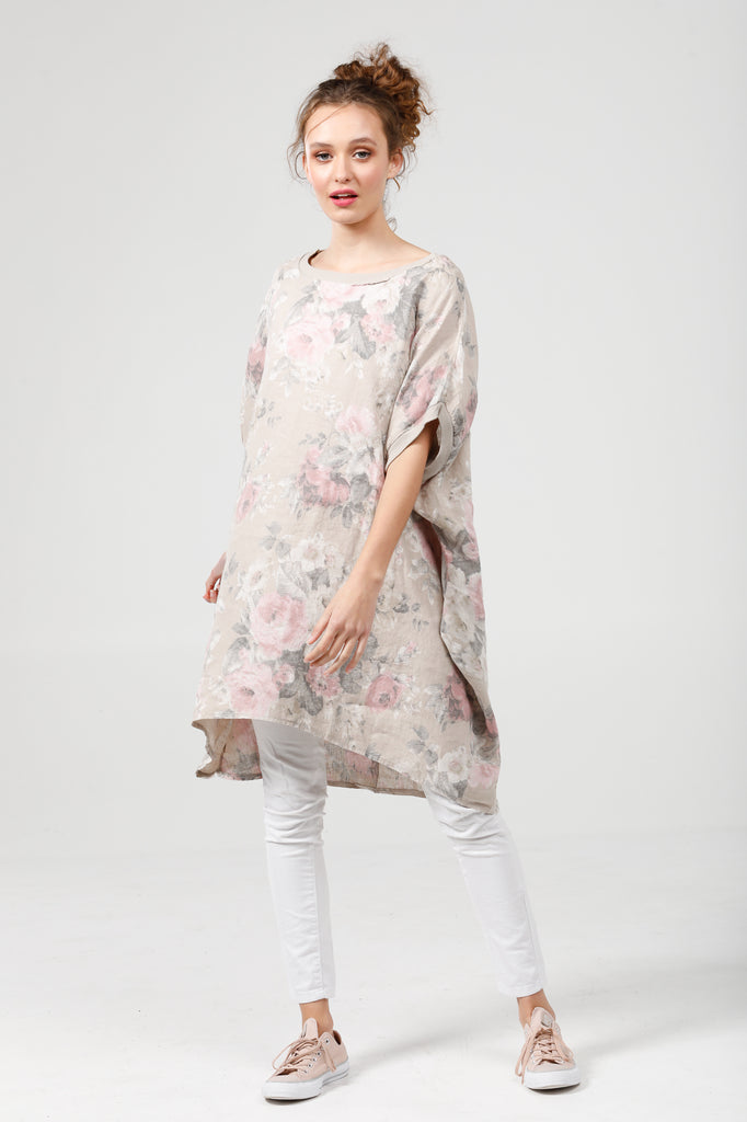 Linen Rosabella top / dress. White faded Rose