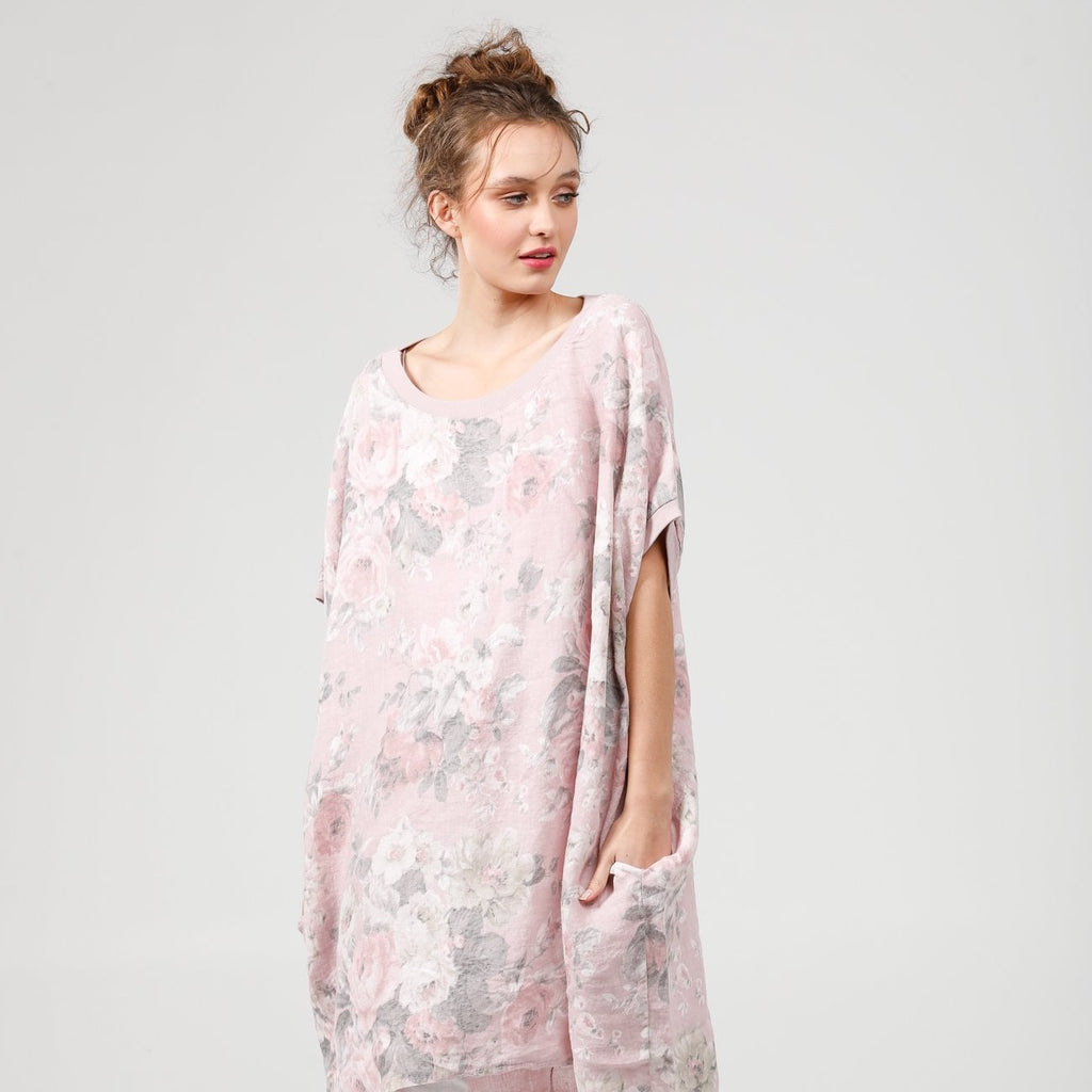 Linen Rosabella dress.  Pale pink Rose