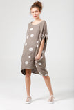 Linen Rosabella  dress. cocoa brown Polka dot.