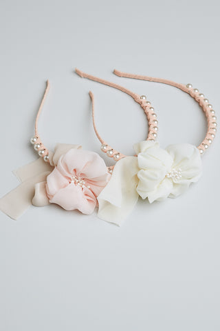 Headband Pearl and Flower. Flower girl headband.