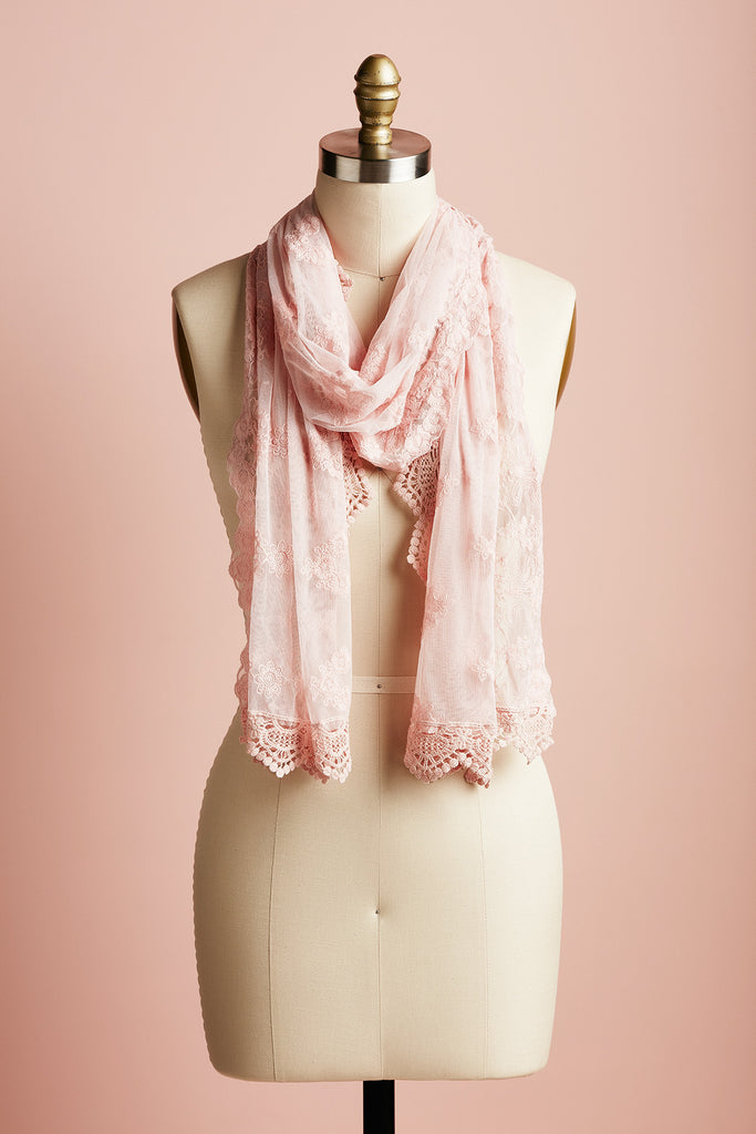 French Lace scarf . Cream