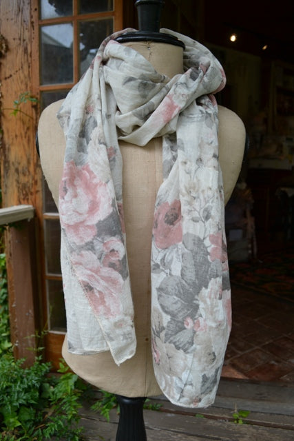 Floral cotton scarf