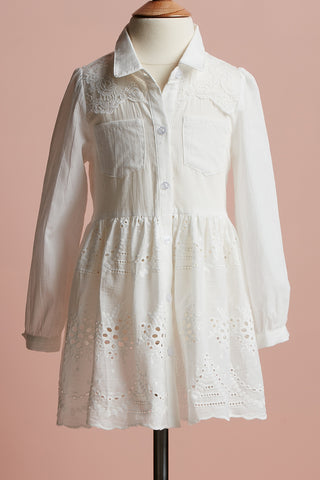 Lucille Dress. girl`s lace shirt dress.