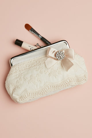 Lace and Satin Clutch Purse