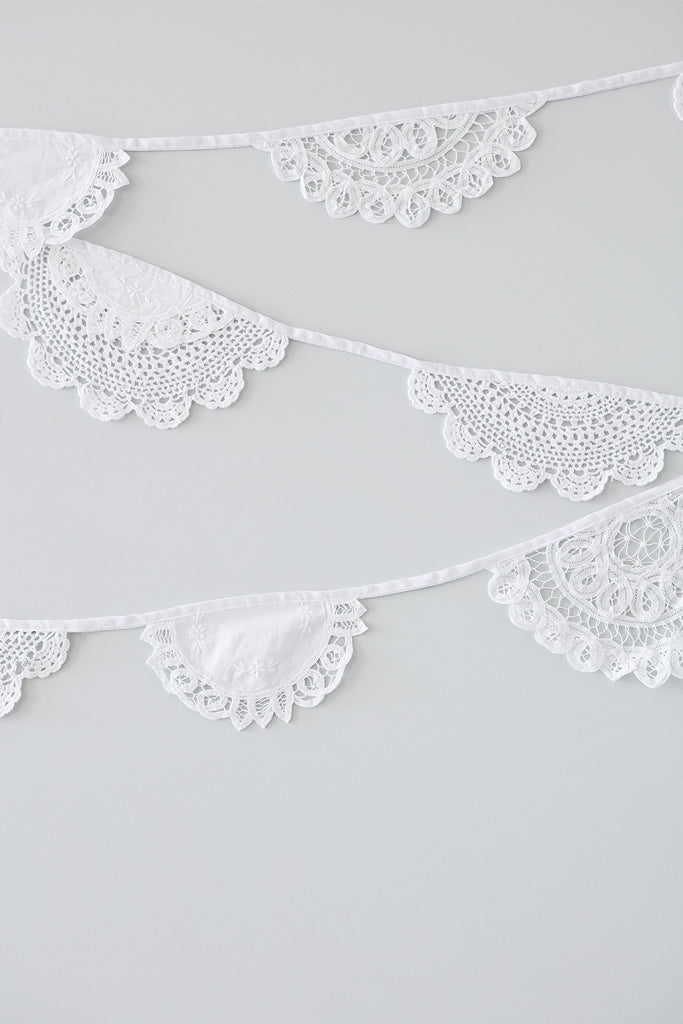 Lace Doily Bunting. wedding bunting. lace bunting. christening bunting. lace pendants.