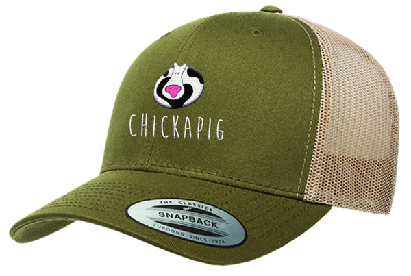 Chickapig Trucker Hat - Moss Khaki with Cow