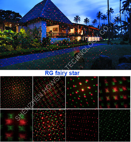 outdoor landscape waterproof aluminum laser lights red green star
