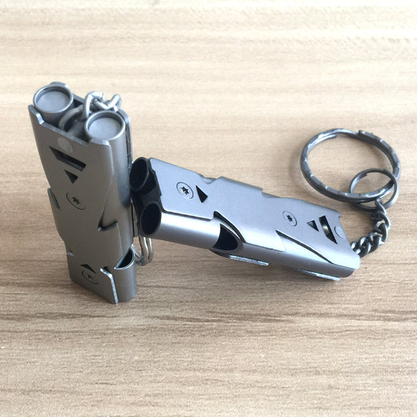 Double Channel Whistle Keychain