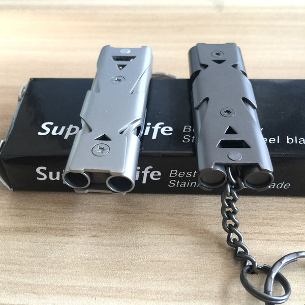 Double Channel Whistle Keychain - ENOK Outdoor Survival Gear