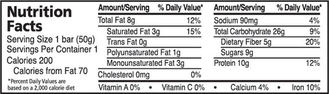 Coconut Cashew Crisp Nutrition Panel