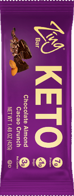 Chocolate Almond Cacao Crunch KETO Bar in wrapper