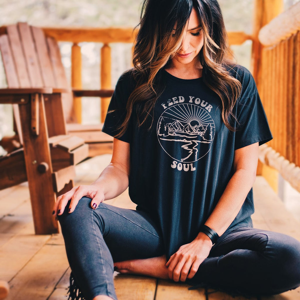 Feed Your Soul Flowy Tee - Black