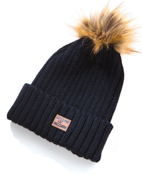 Colorado Ribbed Knit Beanie - Black