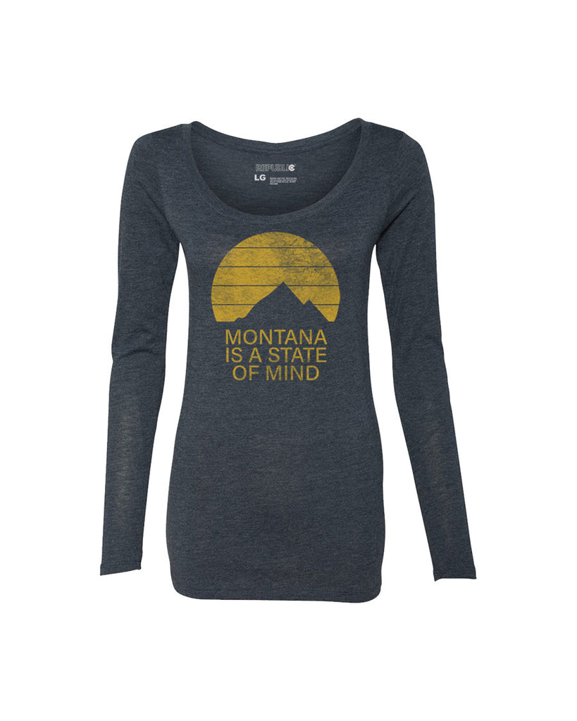 Montana is a State of Mind - Women's Vintage Navy Long Sleeve Scoop