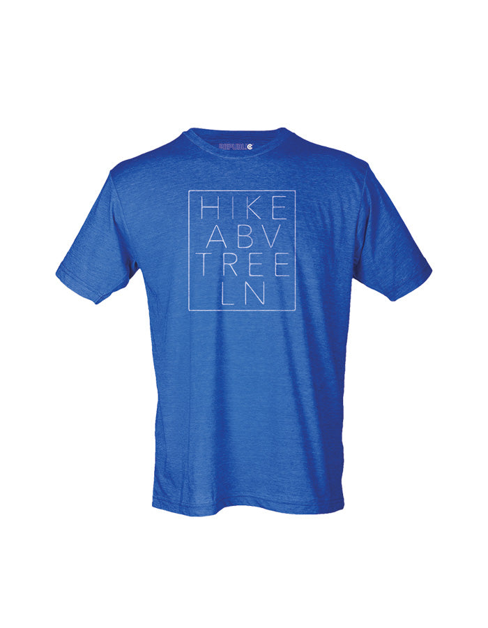 Hike Above Tree Line Heather Royal, mens royal blue tee, mens royal tee, mens royal blue graphic tee