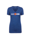 Ladies Single Stripe V Neck - Royal