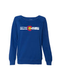 Ladies Single Stripe Crewneck - Cobalt